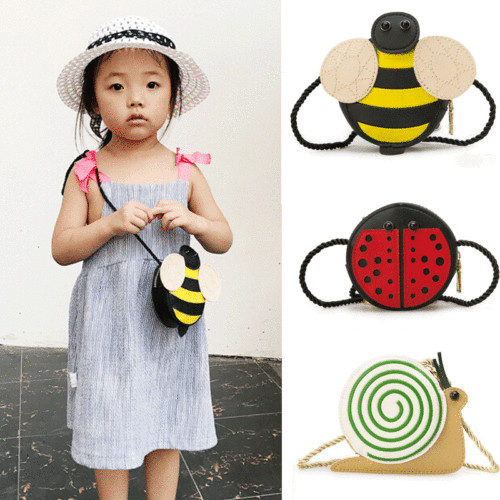 2019 Brand New Baby Girls Tassel Purse Handbag Children Kids Cross-body Shoulder Bag Gifts Cartoon Animals Bag Snail Ladybug Bee