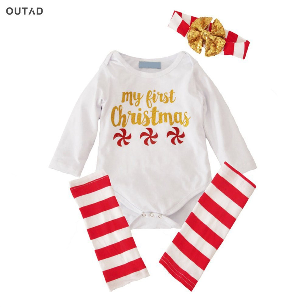 OUTAD Christmas Clothes Bodysuit Baby Girls Clothing Set 3Pcs Romper+Leggings+Heaband Baby Long Sleeve Newborn Girl Clothes Sets