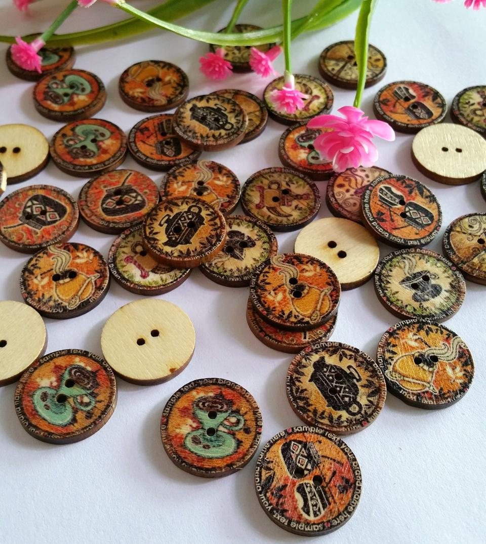 120 Pcs Wood Sewing Decorative Buttons Scrapbooking Vintage Pattern Handcraft DIY Clothing Sewing supplies 20mm