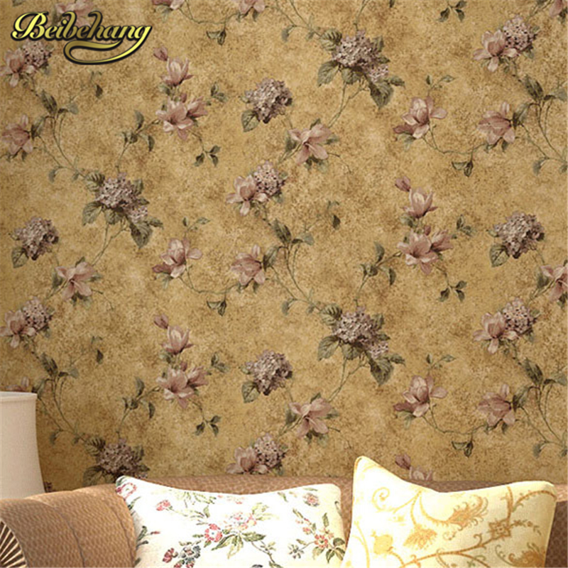 все цены на beibehang papel parede Country Pastoral 3D Wallpaper roll Vintage Floral Wall Paper Non-woven Retro Mural Flower Papel de Parede онлайн