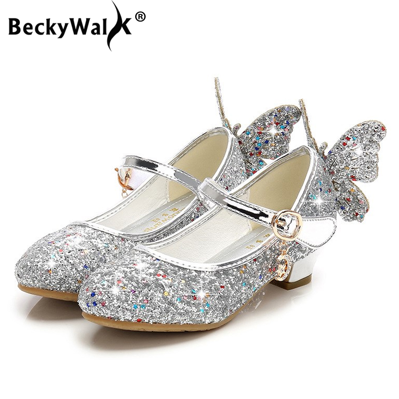 Summer Spring Princess Girls Shoes Kids High Heels Sequins Butterfly Dance Shoes Girls Sandals Children Shoes for Party CSH812Summer Spring Princess Girls Shoes Kids High Heels Sequins Butterfly Dance Shoes Girls Sandals Children Shoes for Party CSH812