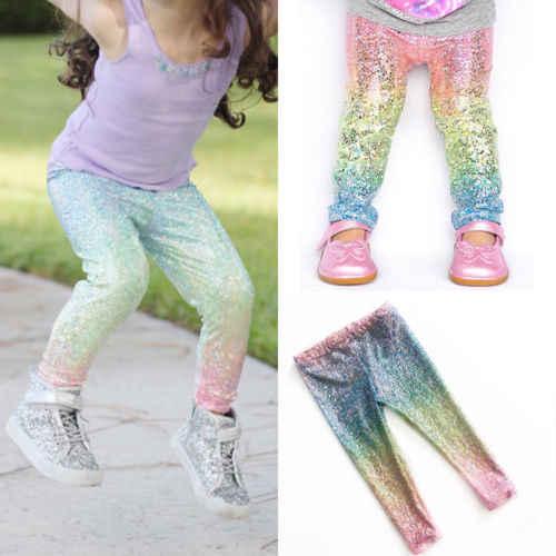 แฟชั่นเด็กผู้หญิงที่มีสีสัน Gradient Rainbow ยาวกางเกงเด็กวัยหัดเดินเด็กหญิงเด็กเลื่อม Leggings กางเกงกางเกงชุดเสื้อผ้า