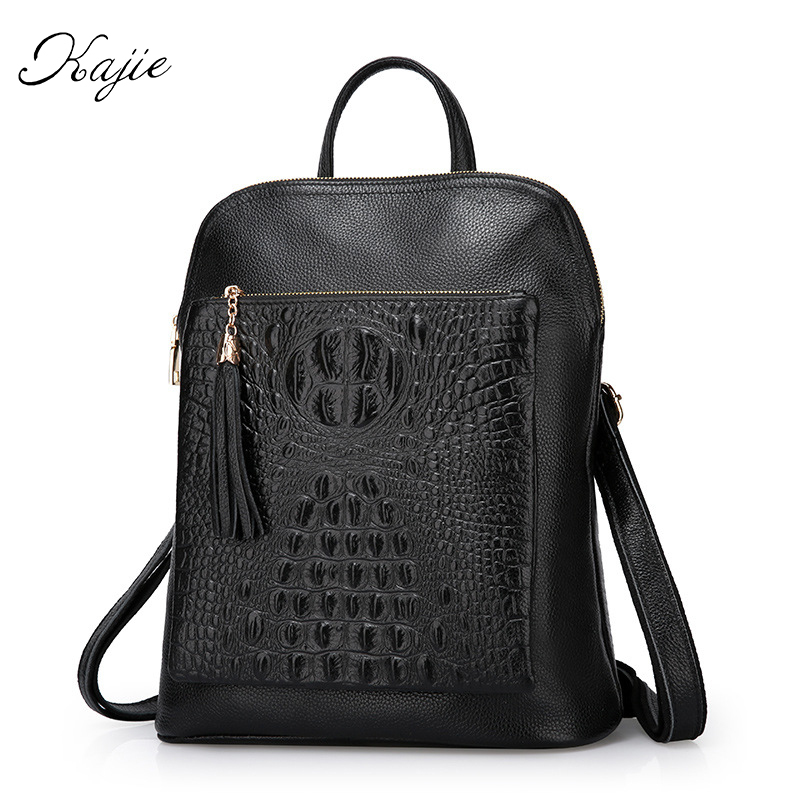 Kajie Crocodile Pattern Women Genuine Leather Backpack Fashion Europe Style Leather Shoulder Bags Cowhide Black School Backpacks elegant crocodile pattern fashion women backpacks multipurpose solid genuine leather bags