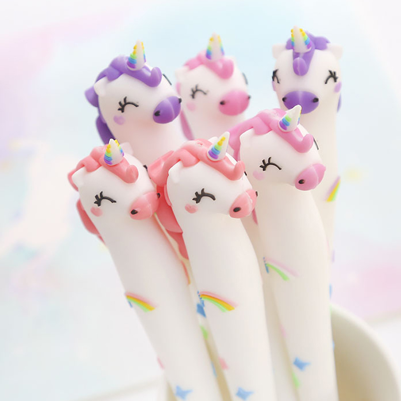 Cute Unicorn Gel Pen 0.5mm Kawaii Multi Shape Silica Gel Plastic Pen For Kids Girls Gifts Office School Supplies Stationery