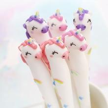 Lindo unicornio Gel pluma 0,5mm Kawaii Multi forma de Gel de sílice de bolígrafos de plástico para niños niñas regalos Oficina escuela suministros papelería
