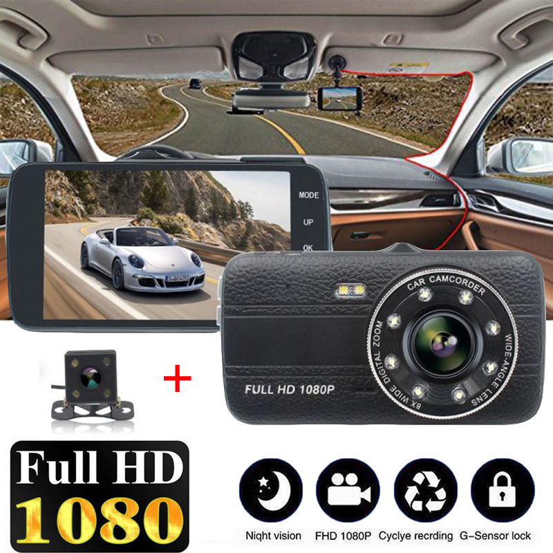 цена на 4 Inch HD 1080P 170 Degree Wide Angle Dual Lens Night Vision Camera Car DVR Camcorder Cam Rearview Video Recorder