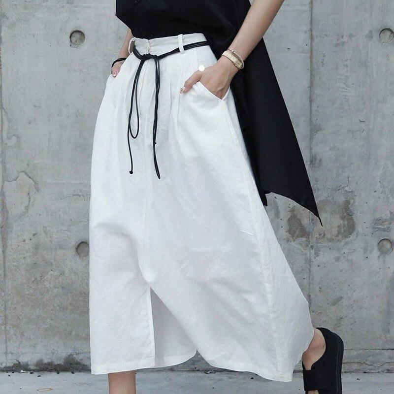 HTB1MbaIzHuWBuNjSszgq6z8jVXaq - [EAM] 2019 New Spring White Cotton Linen Women Fashion Tide Circular Irregular Split Loose Casual  Cross-pants LA456