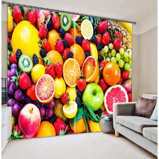 Fashion coloful Fruits design 3d kitchen curtains-in Curtains from ...