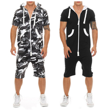 2019 Camouflage Tracksuit Jumpsuit Mens Short Sleeve Hoodies Playsuit Romper Man Summer Casual Patchwork Overalls Sportswear