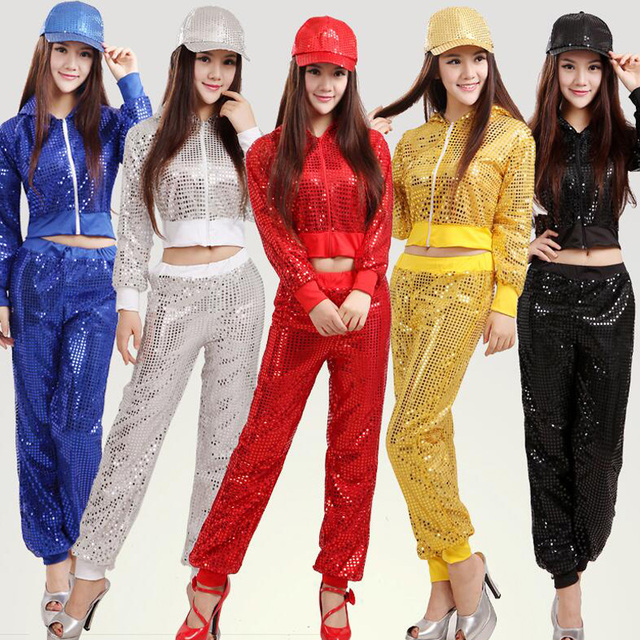 92dfbb09a3d45 Ropa de baile de Hip Hop con lentejuelas modernas para mujer + Pantalones  traje de fiesta