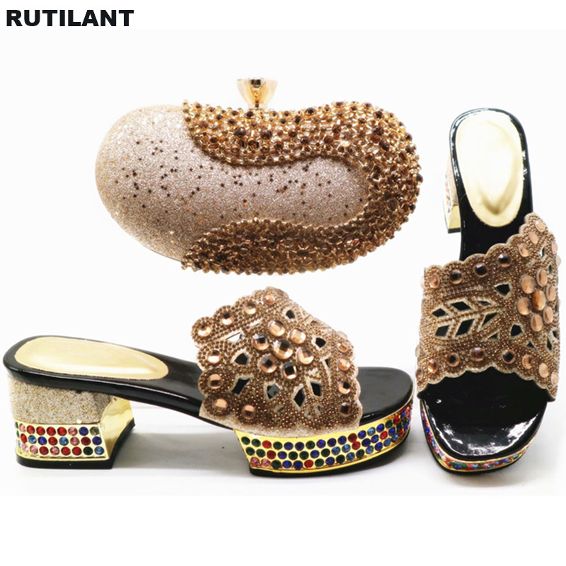 Passenden Tasche Dame rot Design In Neueste Hochzeit gold Schuh Pumpen Für rosa Und Auf Blau Italien Schuhe silber Set Frauen Slip Elegante qS5xIA