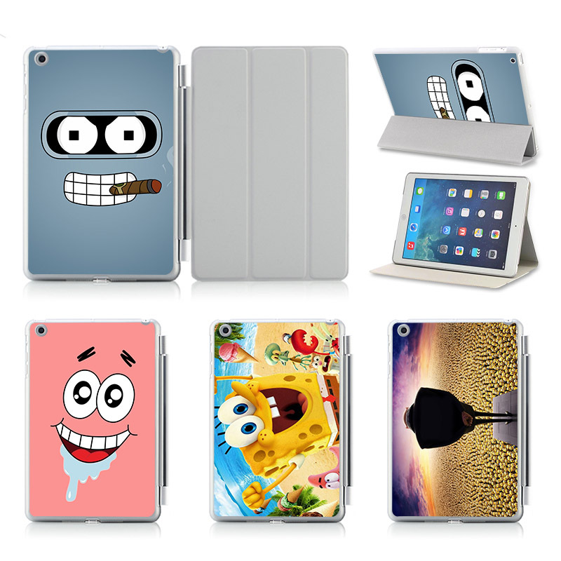 New Hot Printed SpongeBob Pattern Cover Case For iPad 5 6 Air 2 Ultra Thin PU Leather Smart Sleep/ Wake Stand Protective Case hot ultra thin leather smart stand case for ipad pro 10 5 auto transformers cover for new ipad pro 10 5 a1701 a1709 film stylus