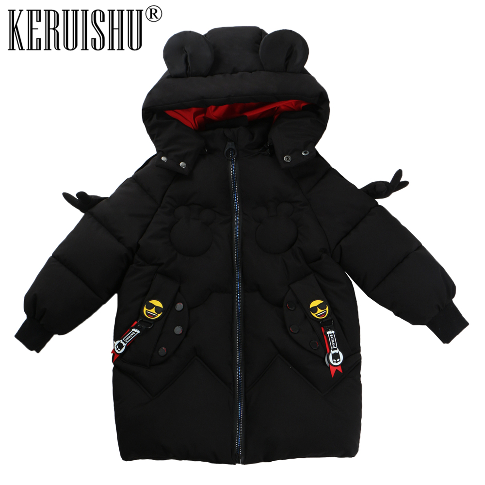 KeRuiShu winter jacket girls Boys coat parka children Hooded Parkas parka winter 2018 Girl Thick Clothes parka miss furs parka