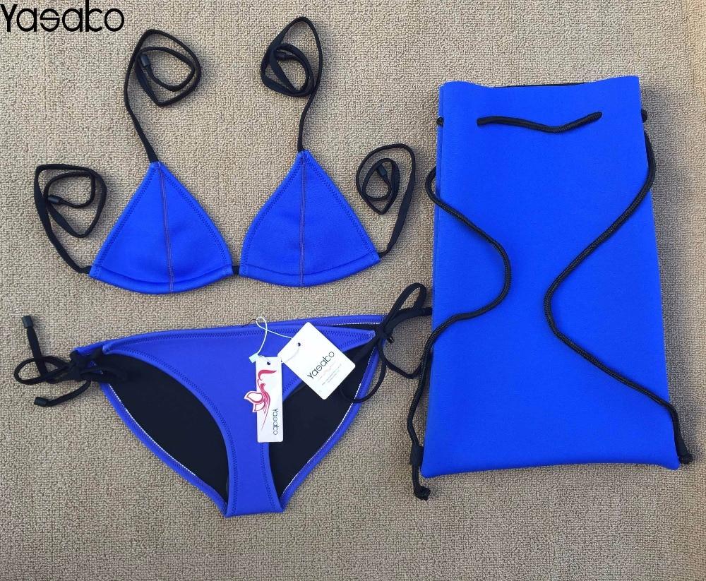 YASAKO 2017 Women's Sexy Neoprene Bikini Set  Summer Swimsuit Swimwear Hot sell Neoprene Bathing Suits 2017 aliexpress hot sexy spell color strap bikini bikini multicolor mosaic neoprene bikini agent provocateur