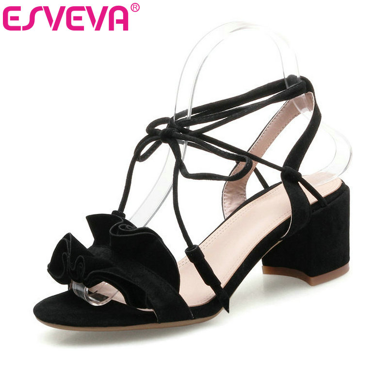 ESVEVA 2017 Sweet Pink Flower Party Summer Shoes Elegant Rome Lace Up Women Sandals Square High Heel Wedding Shoes Size 34-40 vinlle 2017 sweet rome style women pumps party summer shoes pointed toe square low heel lace up wedding woman shoes size 34 43