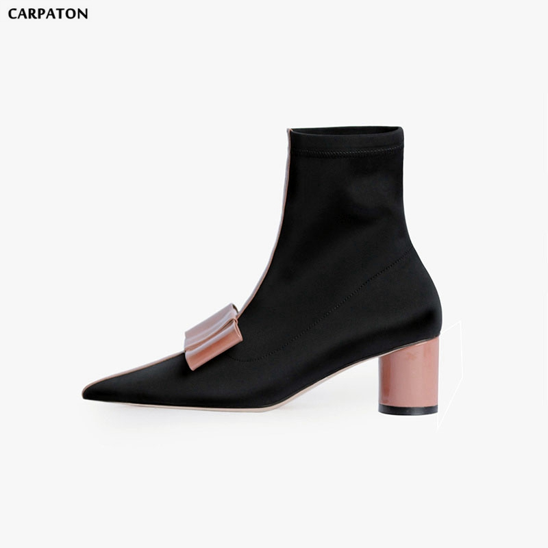 Carpaton New High Quality Stretch Cloth Elastic Socks Boots Fashion Butterfly-knot Pointed Toe Square High Heels Women Shoes ro water faucet for undersink drinking
