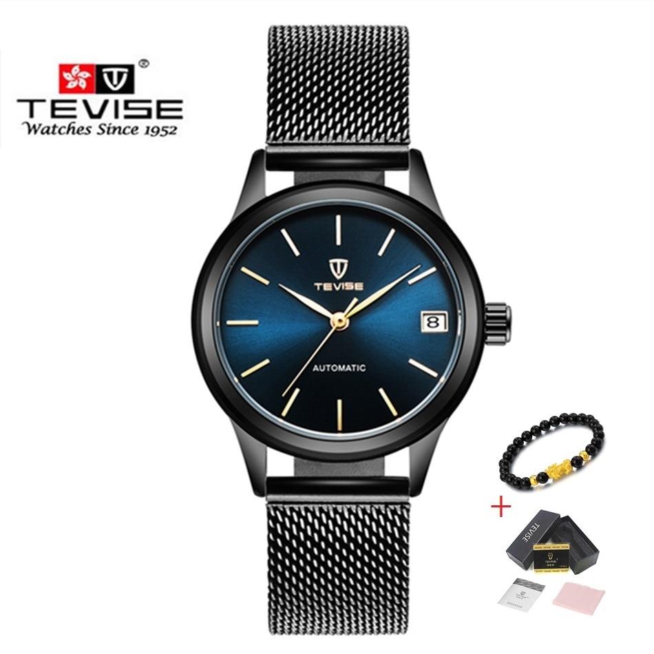 Роскошные Брендовые женские часы TEVISE, автоматические механические часы браслет, женские водонепроницаемые Стальные наручные часы для женщин
