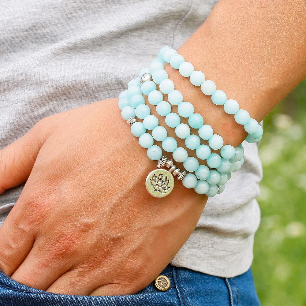 Blue Chalcedony Mala Beads 4