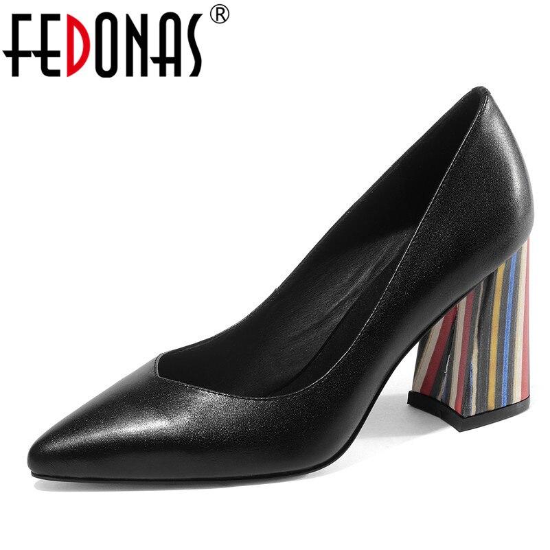 FEDONAS Fashion Women Genuine Leather Basic Pumps Square Heeled Elegant Wedding Party Shoes Woman Pointed Toe