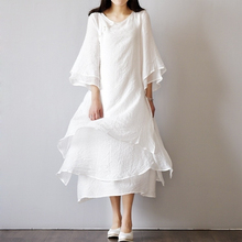 M light retro art cat buckle cotton and linen improved cheongsam double solid color round neck yarn long dress