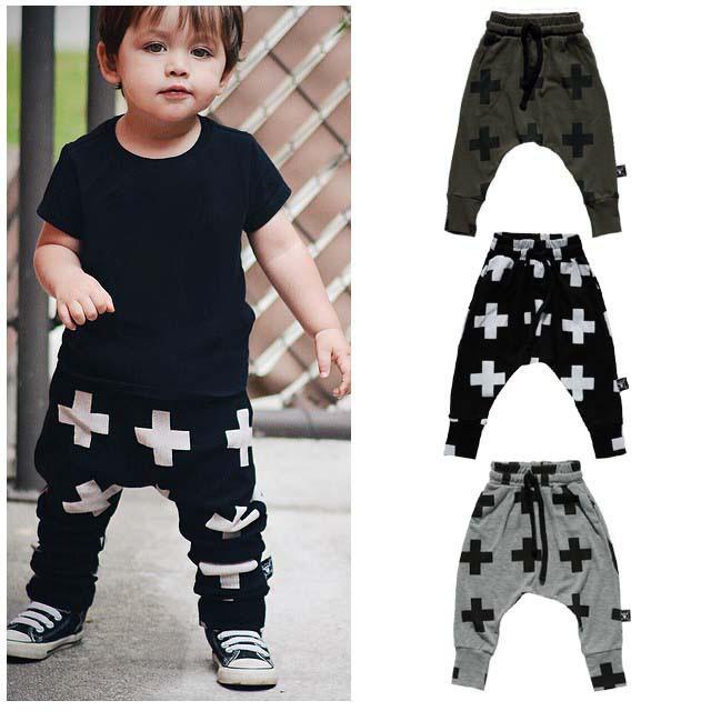 2016 Nuevos Pantalones Del Bebé Del Bebé de La Manera Muchachos Pantalones de Harén para Las Niñas Cruz Estrella Niños Niño Niño Pantalones Del Bebé ropa