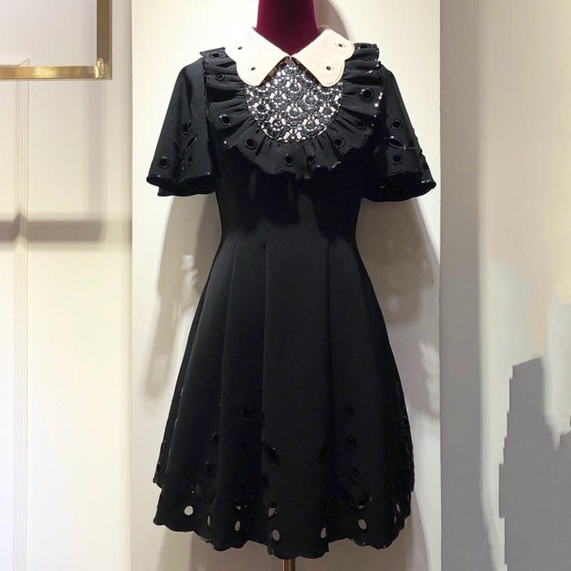 Винтаж черный плиссированное платье 2018 Роскошные женское платье Осень дизайнерский бренд класса люкс женское платье 2018