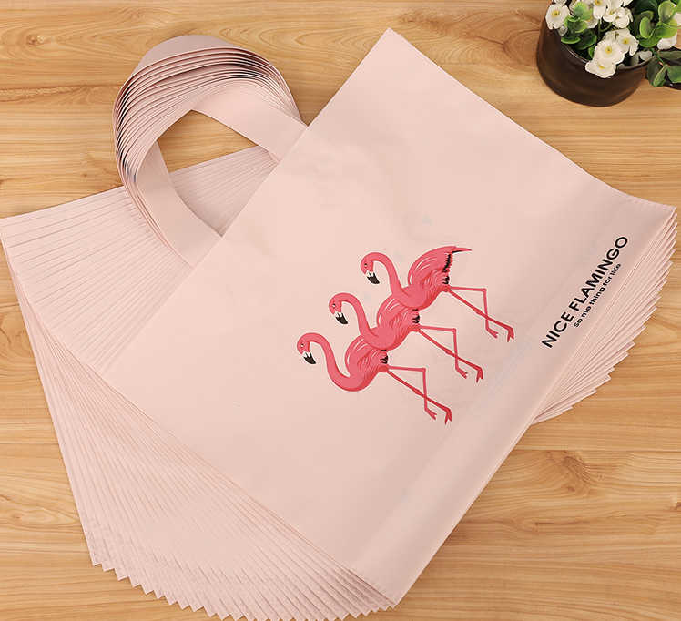 HARDIRON Frosted Flamingo Clothing Store Bag Plastic Women's Non-woven Tote Gifts Thickened Shopping Bag Customization