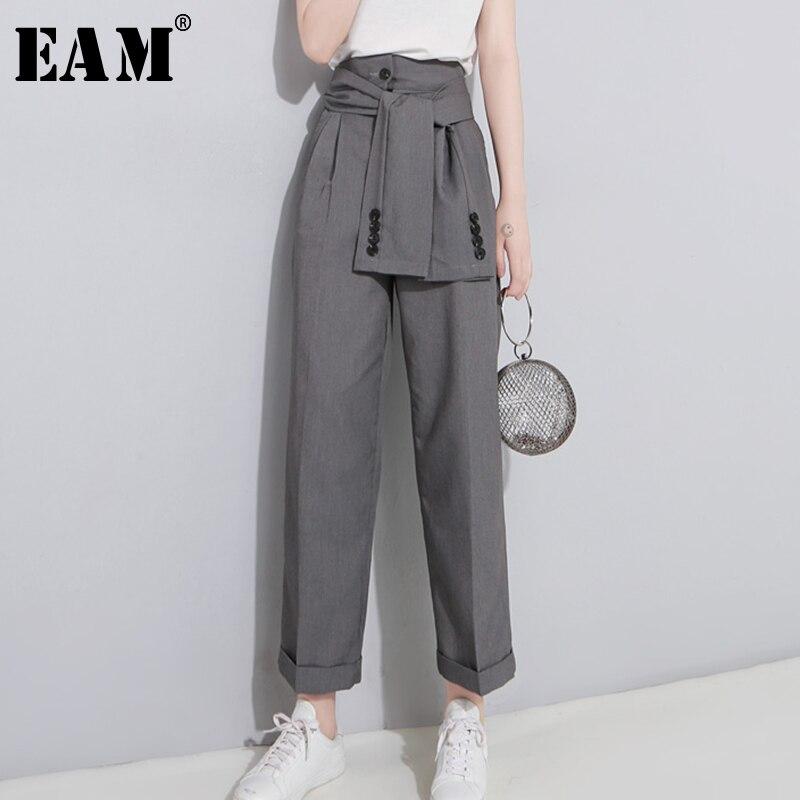 WKOUD EAM 2019 Autumn High Waist Lace Up Black Slim Temperament Tide Trend Fashion New Women's Wild Casual   Wide     Leg     Pants   LA462