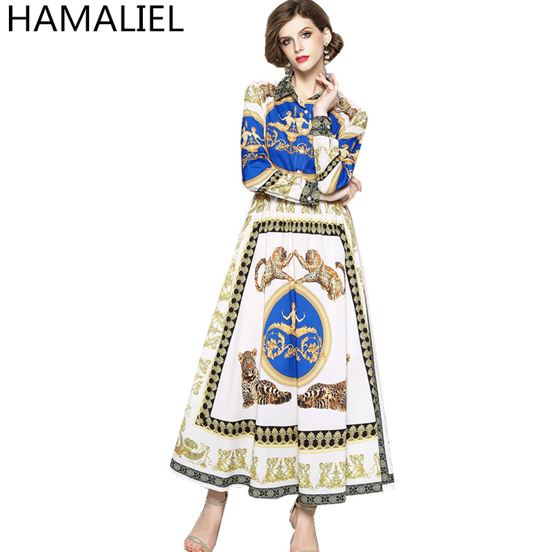 HAMALIEL New Fashion 2018 Summer Women Runway Long Dress Designer Print Character Animal Long Sleeve Turn Down Collar Maxi Dress