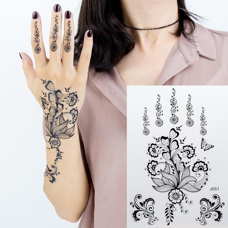 1pc Black Lace Henna Tattoo Set Flash Arabic Indian Mandala Plum Blossom Butterfly Wedding For Bride Body Painting Hand Arm Girl