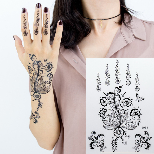 c448e079d 1pc black lace henna tattoo set flash Arabic Indian Mandala Plum blossom  butterfly wedding for bride body painting hand arm girl