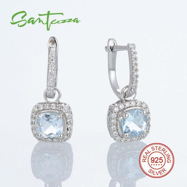 Brincos de prata para As Mulheres Almofada Céu Azul Pedra Branca CZ Diamante Mulheres Brincos Pure 925 Prata Esterlina Jóias Da Moda