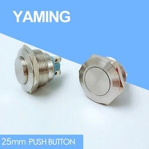 25 мм металлический кнопочный переключатель из нержавеющей стали водонепроницаемый IP65 моментальная Перезагрузка Doorebll колокольчик с высоко...