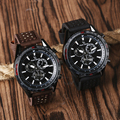 Trendy Business Dress Quartz Wrist Watch Men Pin Buckle Outdoor Sport Military Leather Band Gift for Boy Friend