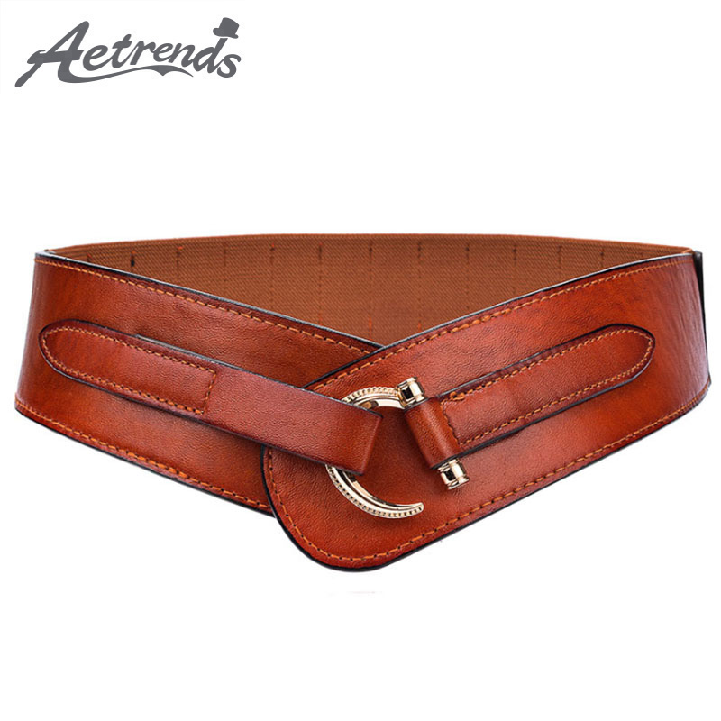 [AETRENDS] Vintage PU Leather Diagonal Cross Cinch Belt Waistband Wide Hip Belts Women Cummerbunds D-0072