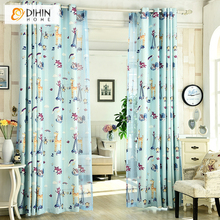 dihin home cartoon printed design curtains for kids children blackout curtains for the bedroom window living room