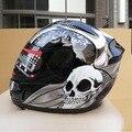 Full face motorcycle helmet winter anti mist skull printed automobile race helmet