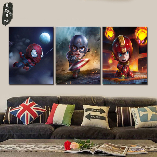 Wall Canvas Art Sets Cartoon Superhero Painting Decor Decorative Pictures For Kids