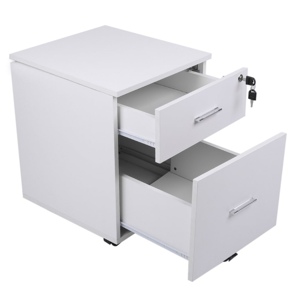 Space Saving Office & Home Furniture Lockable File Storage Cabinet Table With 2 drawers & 4 Removable Wheels 73 5x66x33cm white wooden floor standing storage cabinet cupboard with 2 drawers and 2 doors dolap duzenleyici guardaroba