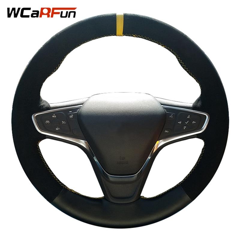 WCaRFun Black Suede Steering Wheel Cover for Steering Wheel for Chevrolet Malibu XL 2016 2017 Equinox