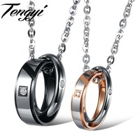 Stainless Steel Couple Necklace Pendants His And Her Promise Necklace Set Crystal Pendant Necklace Chain Love