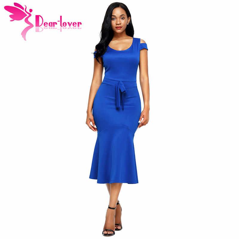 Dear Lover Dresses Women Work Wear Royal Blue Cold Shoulder Bow Detail  Short Sleeve Mermaid Dress ca7414e1e1c8