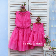 Grape girls fashion summer family clothes for mother and daughter female child one-piece dress plus size available 2015 518