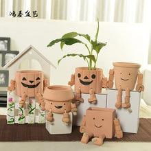 2016 New Ceramic Flower Terracotta Succulent Pots Creative Robot Small Garden Basin Craft Vasos Para Jardim