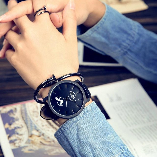 Lover Unisex Watch Women Men Clock Quartz Analog PU Leather Strap Watches Relojes Wristwatches Yes or No Pattern TT@8