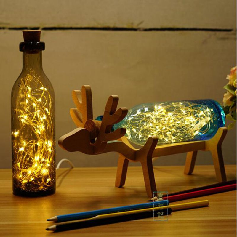 LukLoy USB Nightlight Wood Deer Glass Bell Jar Night Lamp with Led Copper Wire String Light for Table Bedside Christmas Gift