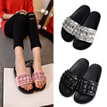 luxury brand rhinestone sandals women genuine leather crystal beading slippers famous design cowhide flip flops platform sandals