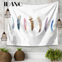 Bohemian feathers 150X200 CM HD Cartoon Anime Banners Flags Hanging Cloth Tapestry Children's room Background Decor