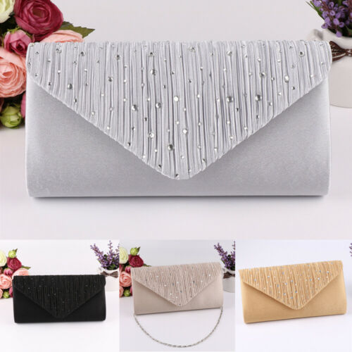 Envelope Handbag Wedding-Bag Day Clutch Satin Diamante Crossbody Mini Bridal Women Ladies