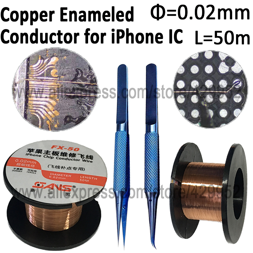 horizon hi z1 single conductor wire w spiral shiel 0.02mm 50m Enameled Conductor Copper Wire Polyurethane Soldering Line With Teewzer For iPhone Chip IC Repair Tool